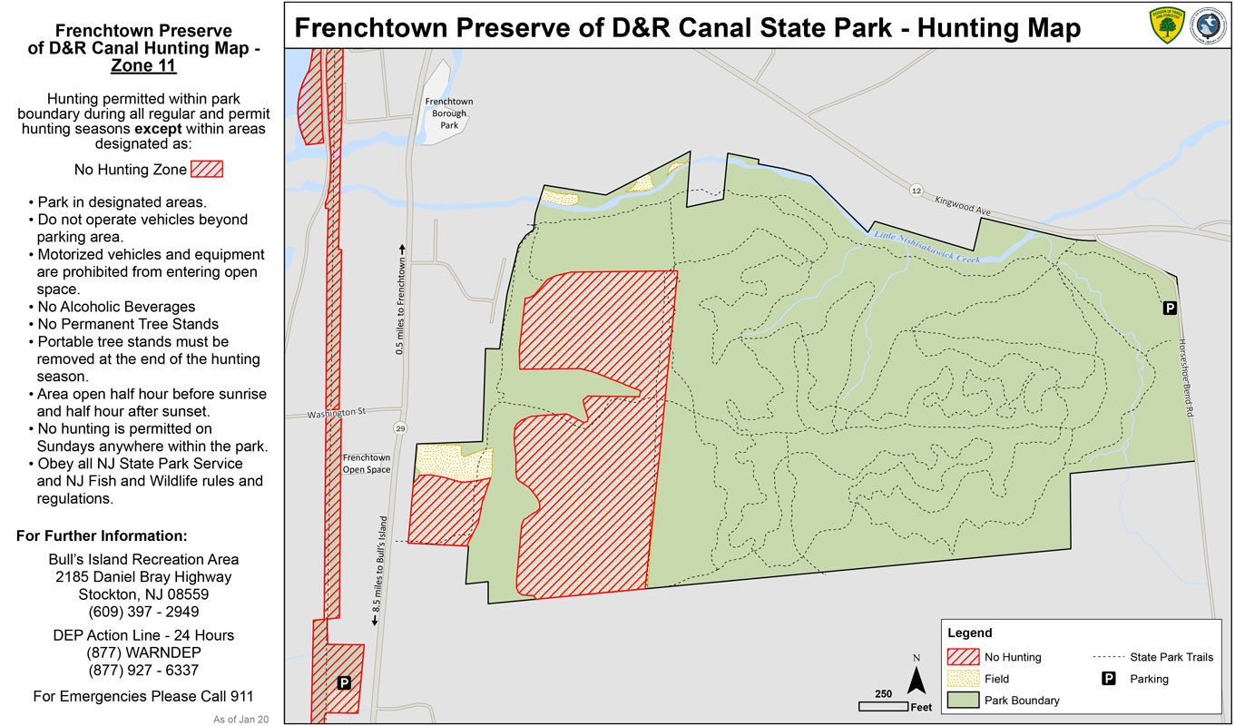 Hunterdon County Frenchtown Preserve Hunting Map